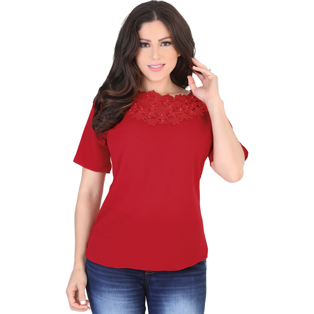 Lamasini - Tops - 5567 - Short Sleeve Top
