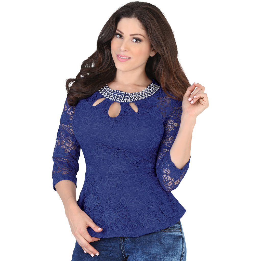 Lamasini - Tops - 5569 - Lace Flared Hem Top