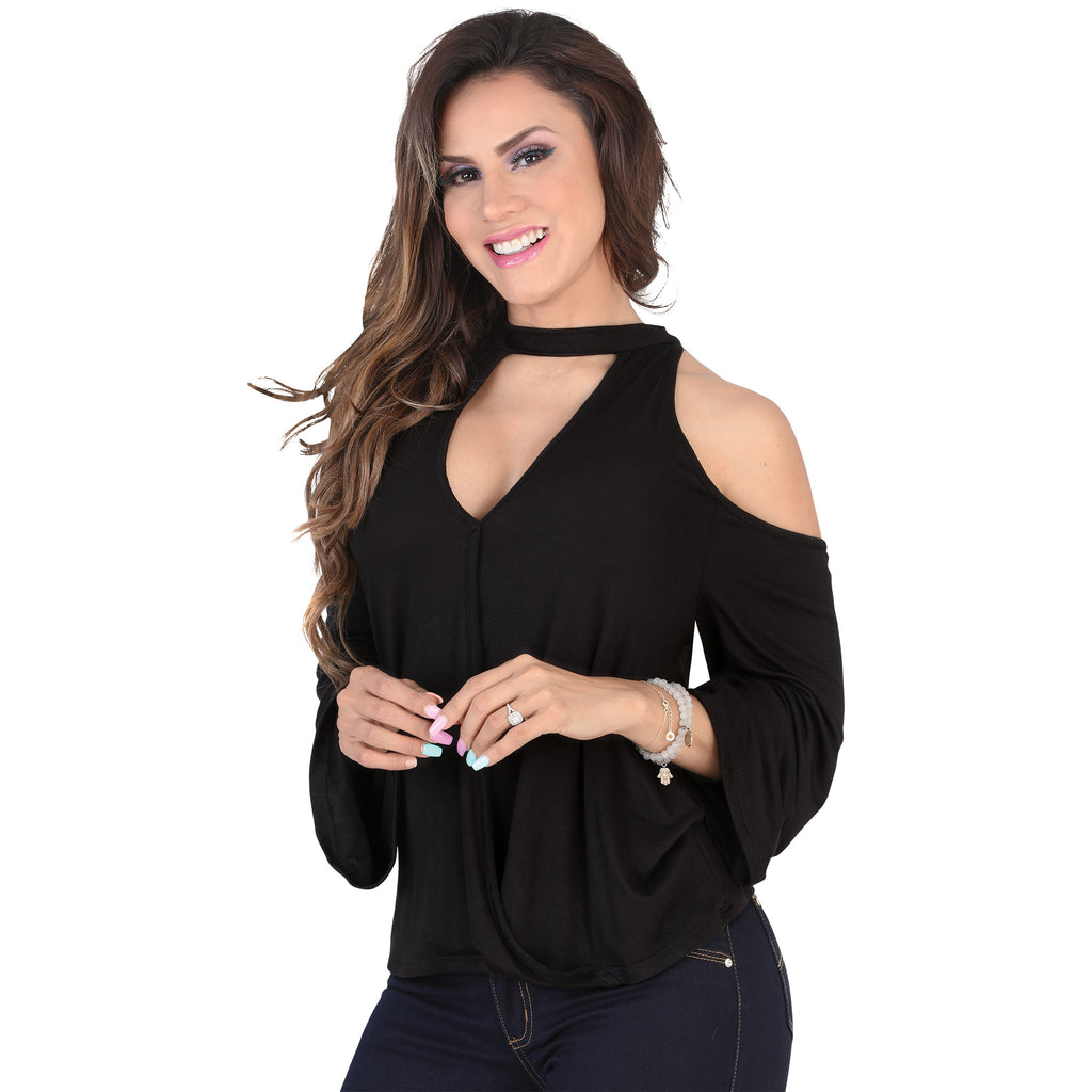 Lamasini - Tops - 5570 - Cold Shoulder Long Sleeve Top