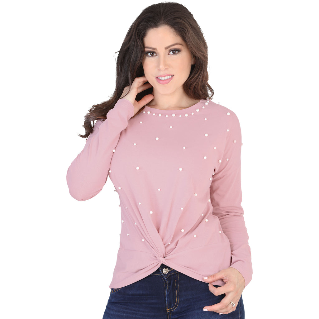 Lamasini - Tops - 5571 - Long Sleeve Pearled Top