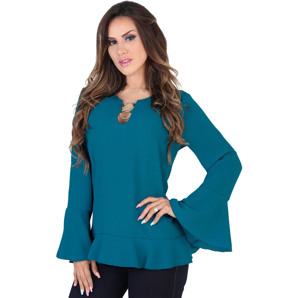 Lamasini - Tops - 5572 - Long Sleeve Flared Top