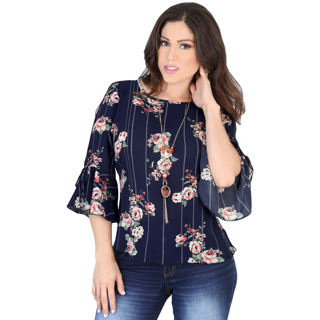 Lamasini - Tops - 5573 - Floral Print Top with Necklace