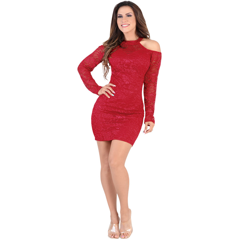 Lamasini - Dresses - 6271 - Cold Shoulder Lace Mini Dress