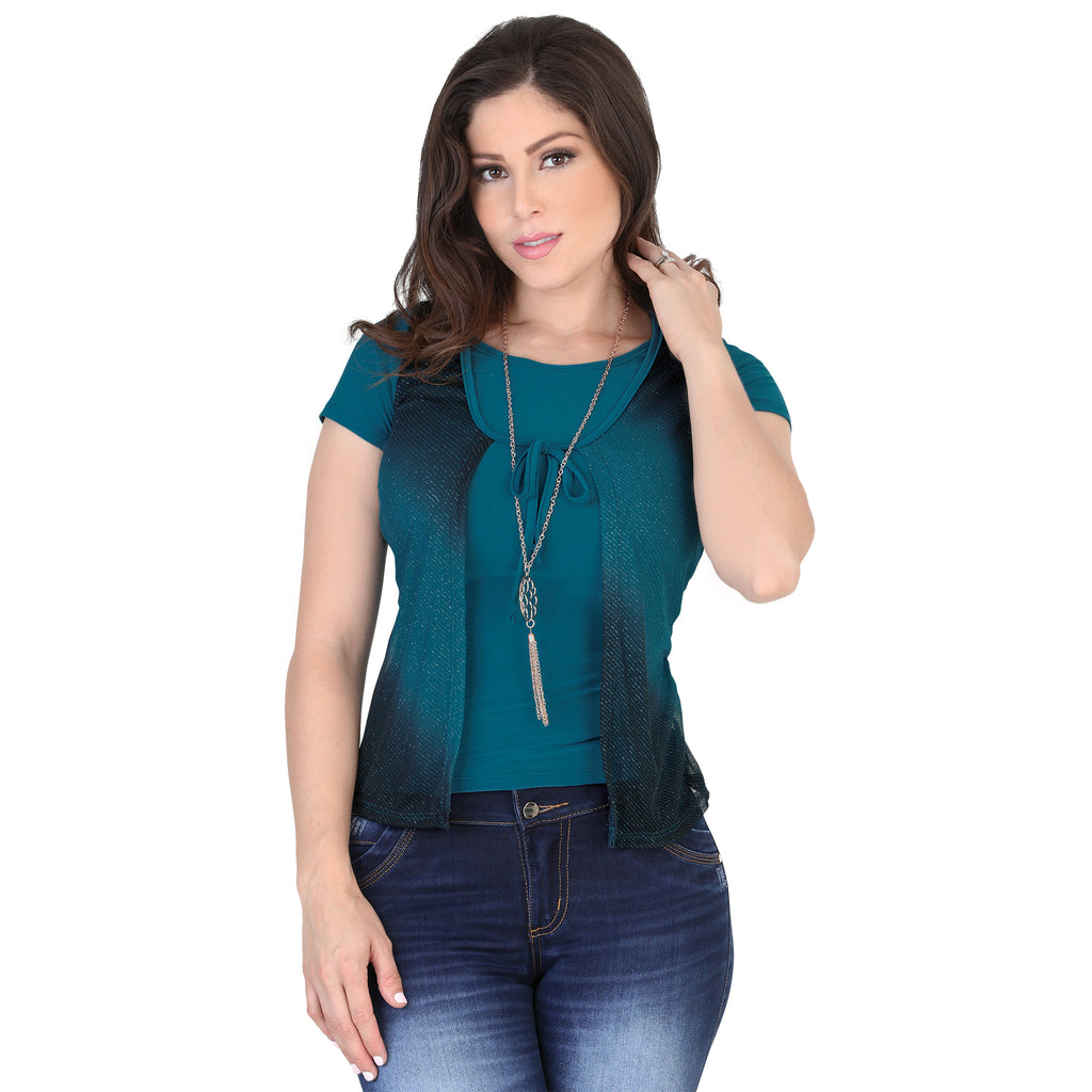 Lamasini - Tops - 6290 - Short Sleeve Gradient Top with Necklace