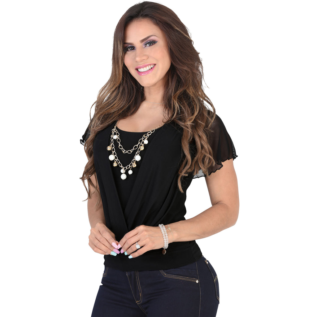 Lamasini - Tops - 6291 - Short Sleeve Top with Necklace