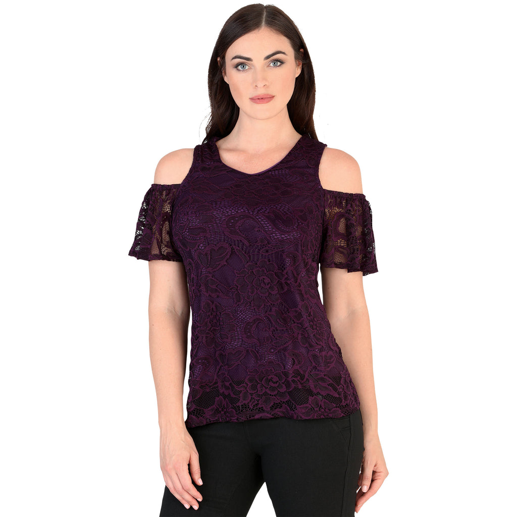 Danesi - Tops - 7627 - Cold Shoulder Lace Top