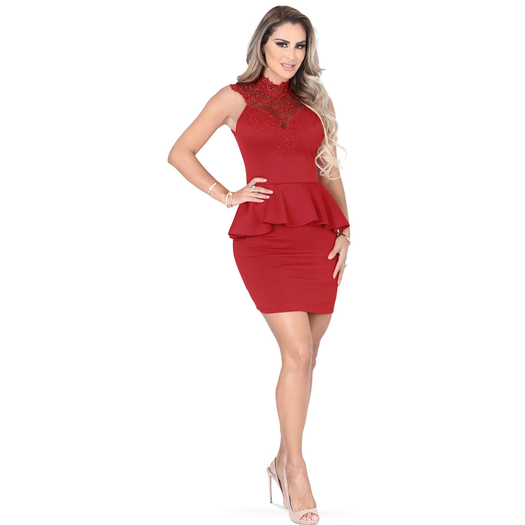 Danesi - Dresses - 7611 - Peplum Mini Dress
