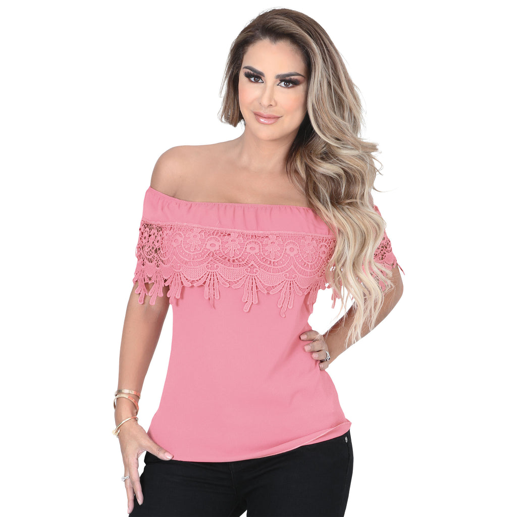 Danesi - Tops - 7633 - Off Shoulder Lace Top