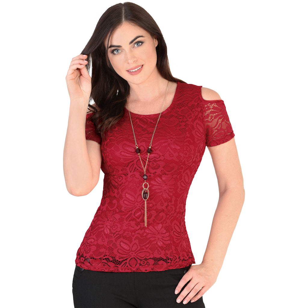 Danesi - Tops - 7654 - Cold Shoulder Lace Top