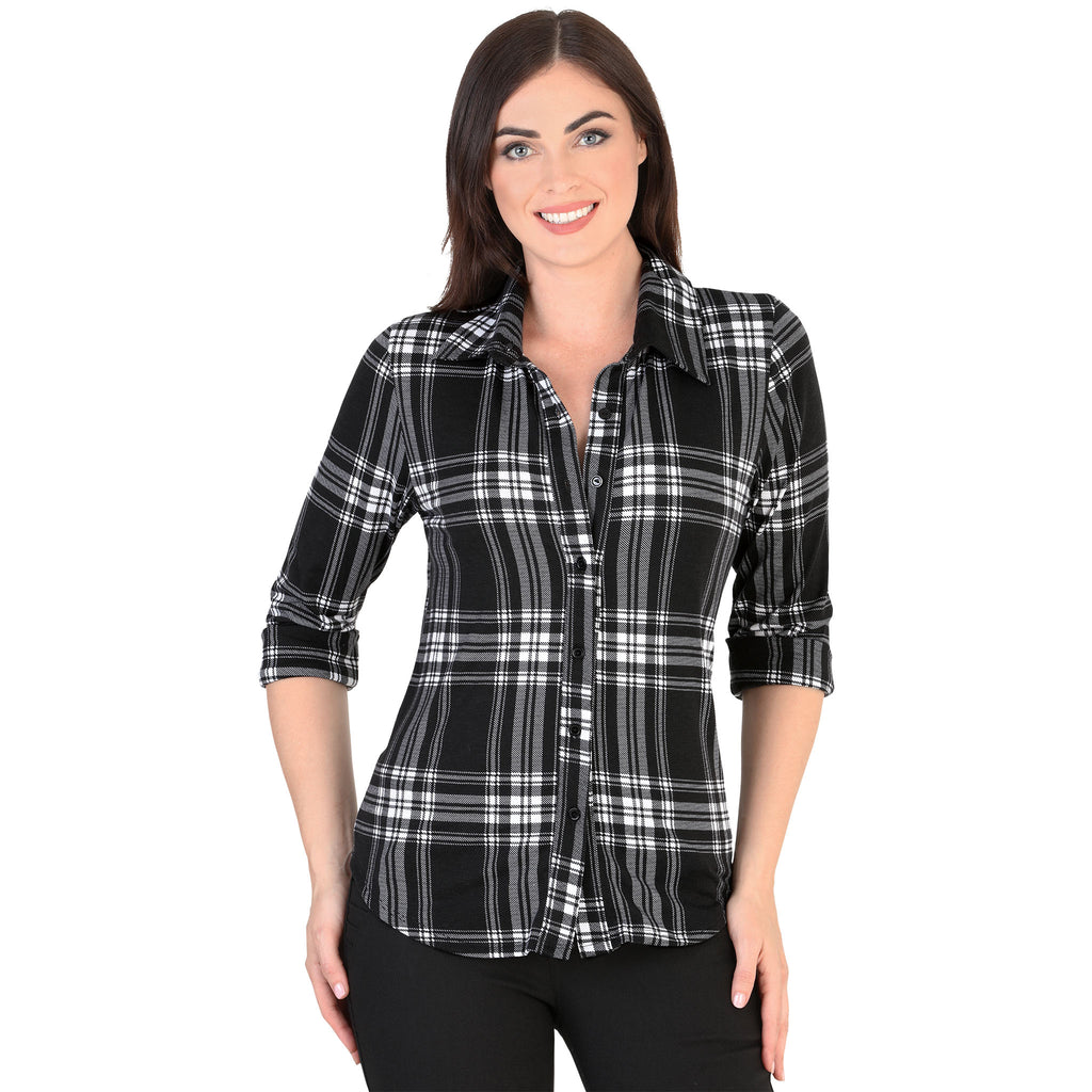 Danesi - Tops - 7655 - Plaid Flannel Shirt