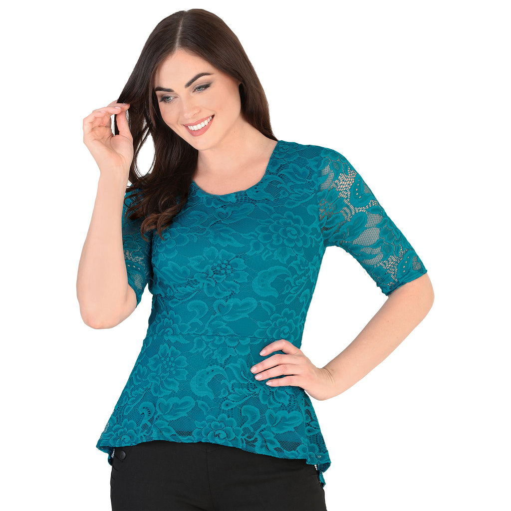 Danesi - Tops - 7656 - Half Sleeve High Low Lace Top