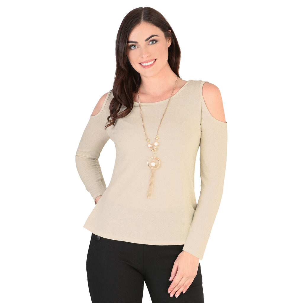 Danesi - Tops - 7657 - Long Sleeve Cold Shoulder Top