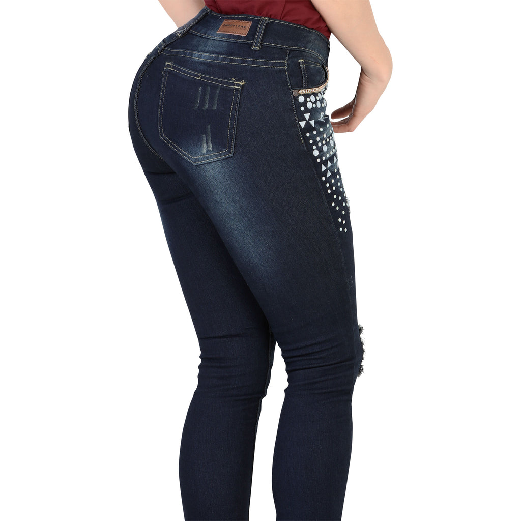 Sweet Look - Jeans - N998A - Bejeweled and Distressed Stretch Denim Jeans