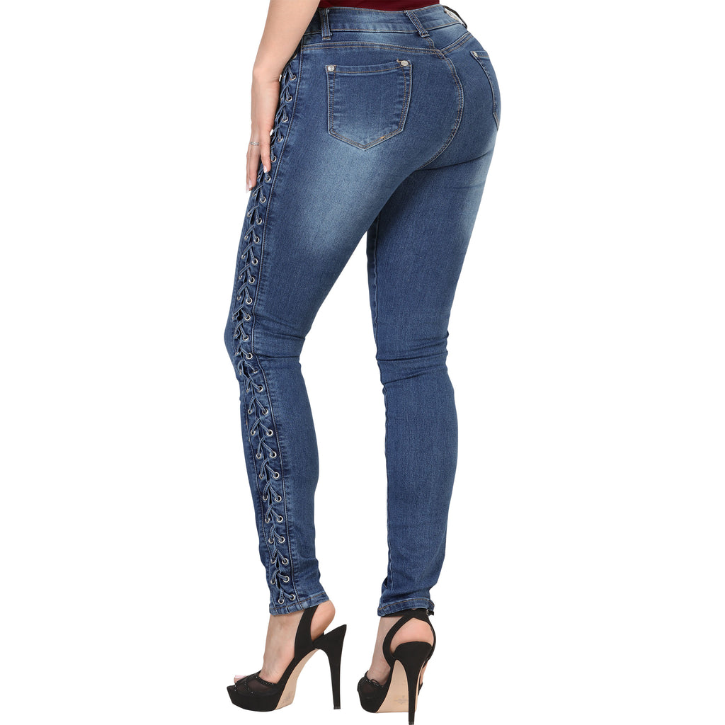 Mitzi Michel - Jeans - S6149 - Laced Up Stretch Denim Jeans