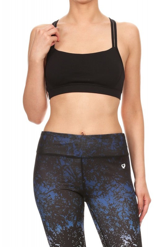 ShoActive - Sports Bras - A6BR09 - Solid Active Sports Bra with Clear Mesh Trim