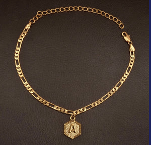 Cuban Link Initial Anklet