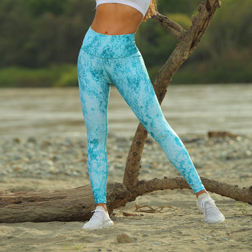 STONE GREEN TEXTURE LEGGINGS