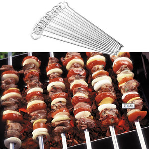 12Pcs/set Stainless Steel BBQ Skewers
