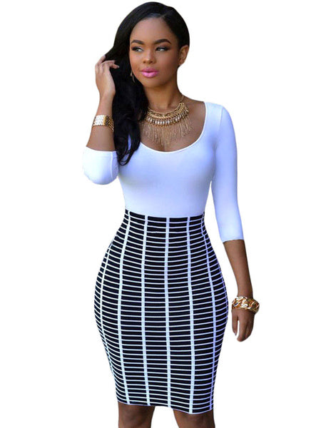 Women's Bodycon Dress Half Sleeve White Blue Galaxy Printed Round Neck Pencil Dress