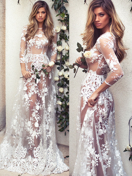 White Lace Maxi Dress Round Neck Illusion Three Quarter Length Sleeve Semi Sheer Sexy Party Dress