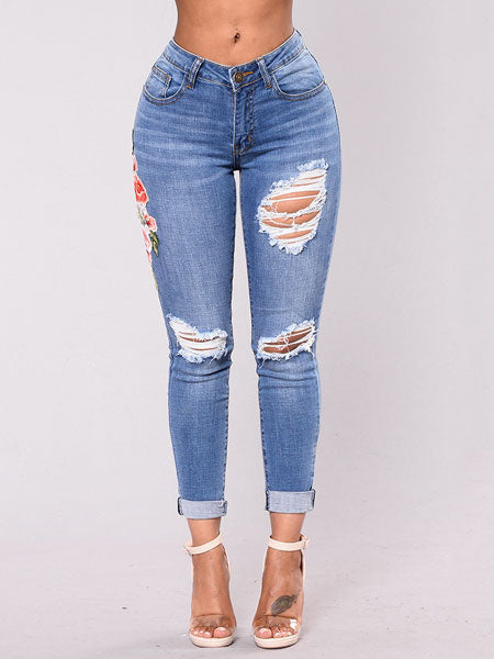 Embroidered Ripped Skinny Jeans