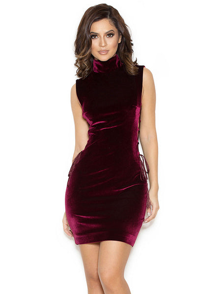 Burgundy Bodycon Dress High Collar Sleeveless Lace Up Sexy Velour Short Dresses For Women