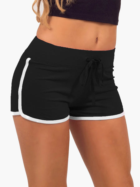 Two-Tone Lace up Cotton Sports Shorts