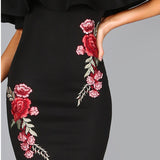 Stella Off Shoulder Embroidered Rose Applique Mini Dress