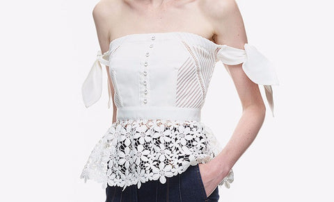 Lucy Off Shoulder Peplum Lace Blouse