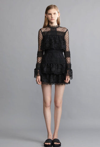 Kasia Lace Patchwork Flare Sleeve Mini Dress
