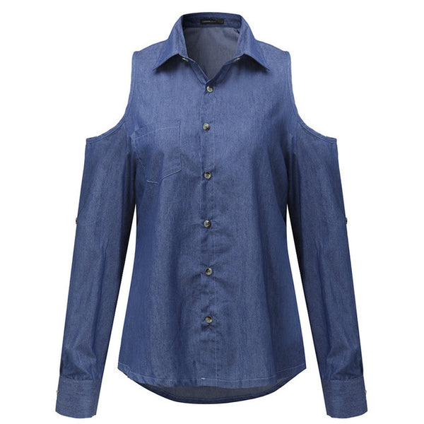 Selma Cold Shoulder Sexy Denim Shirt