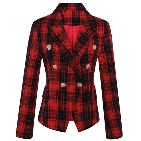 Paddington Double Breasted Classic Plaid Blazer