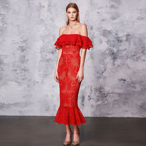 Sarah Off The Shoulder Mermaid Lace Dress