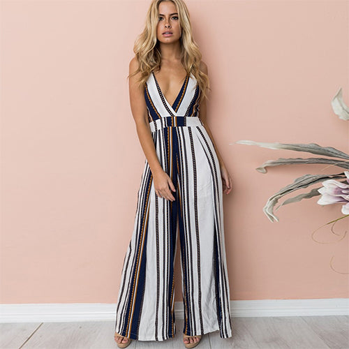 Tanya Deep V-neck Bohemian Backless Jumpsuit