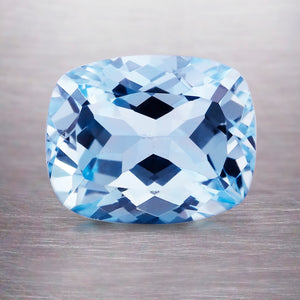 2.99 CARAT LONG CUSHION NATURAL BLUE AQUAMARINE