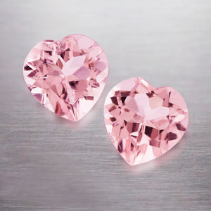 3.30 CARAT HEART NATURAL PINK PEACH MORGANITE PAIR