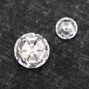 Forever One Round Duet Rose Cut Near-Colorless Moissanite
