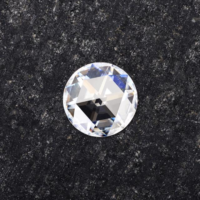 Forever One Round Rose Cut Near-Colorless Moissanite Gemstone