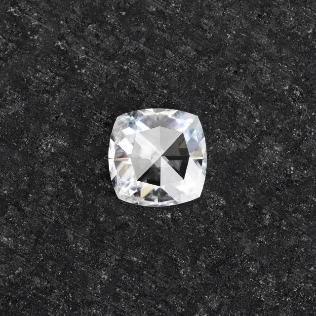 Forever One Loose Cushion Rose Cut Near-Colorless Moissanite
