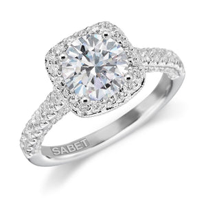 Forever One Moissanite Round Diamond Engagement Ring 18kt White Gold