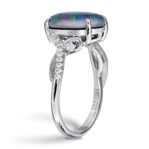 Natural Triplet Opal Diamond Ring 18k White Gold