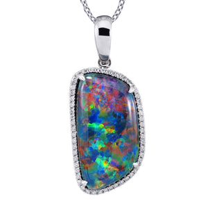Natural Opal Pendant .17ct Genuine Diamond Halo Neckalce 18in Chain RARE Coober Pedy Mine Black Freeform Opal Pendant Birthstone gift