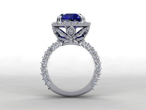 Lab Sapphire Long Cushion Engagement Ring 18kt White Gold
