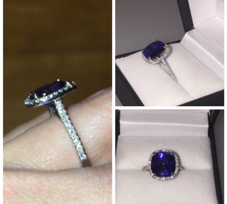 Lab Cushion Cut Sapphire Diamond Engagement Ring 18kt White Gold