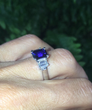 Lab Sapphire Emerald Cut Diamond Engagement Ring 18k White Gold Ring