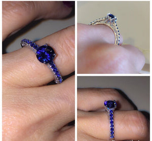 Lab Sapphire Round Brilliant Engagement Ring 14kt White Gold