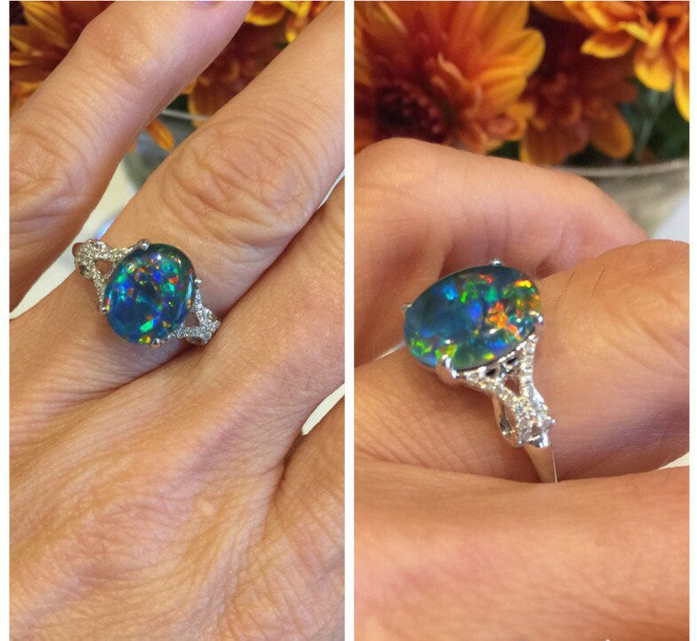 Natural Triplet Oval Opal Diamond Ring 18kt Gold