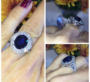 Lab Sapphire Oval  Engagement Diamond 14k White Gold