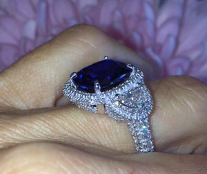 Lab Sapphire Long Cushion Cut Diamond Engagement Ring 18kt White Gold