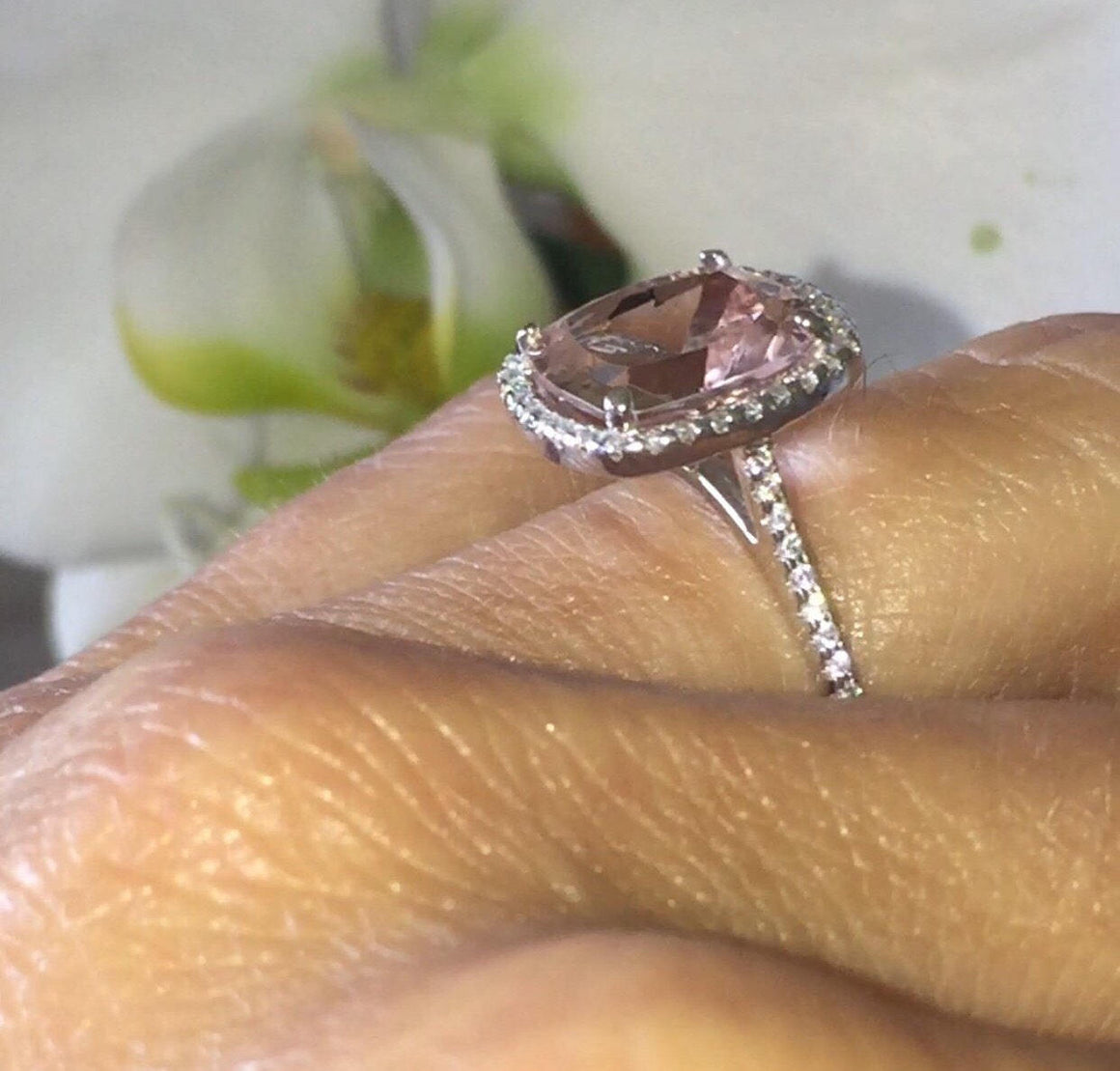 Morganite Cushion Engagement Ring 14k White Gold
